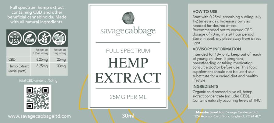 Buy Best Quality CBD Oil Online, Savage Cabbage 2.5% CBD Oil