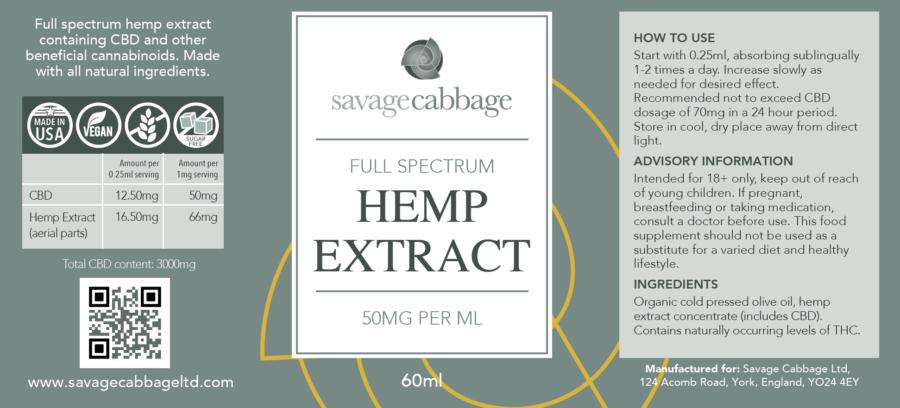 , Savage Cabbage 5% CBD Oil