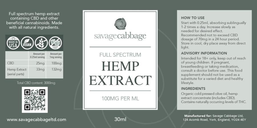 Savage Cabbage Full Spectrum CBD Oil UK 100mg 630ml Label